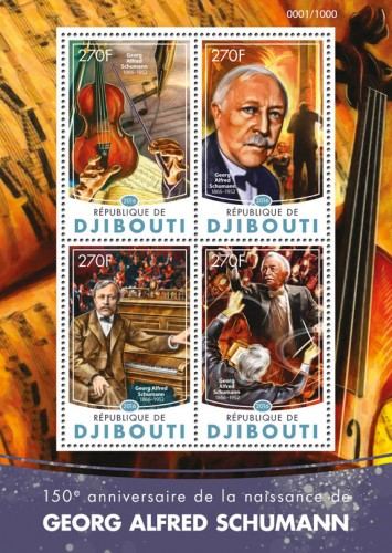 Georg Alfred Schumann (150th anniversary of the birth of Georg Alfred Schumann (1866-1952)) | Stamps of DJIBOUTI