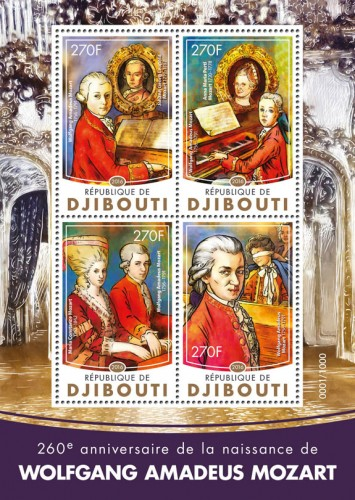 Wolfgang Amadeus Mozart (260th anniversary of the birth of Wolfgang Amadeus Mozart (1756-1791), Johann Georg Leopold (1719-1787), Anna Maria Pertl Mozart (1720-1778), Maria Constanze Mozart (1762—1842)) | Stamps of DJIBOUTI