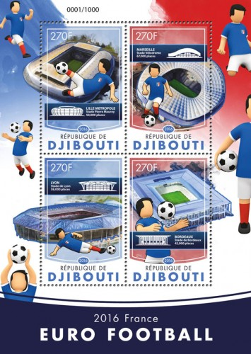 European Football Championship Euro 2016  France (Pierre-Mauroy stadium in Lille Metropole, Velodrome stadium in Marseille, Lyon stadium, Bordeaux stadium) | Stamps of DJIBOUTI