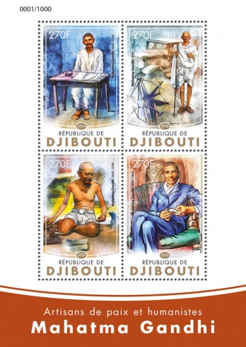 Mahatma Gandhi (Peacemakers and humanists: Mahatma Gandhi (1869-1948)) | Stamps of DJIBOUTI