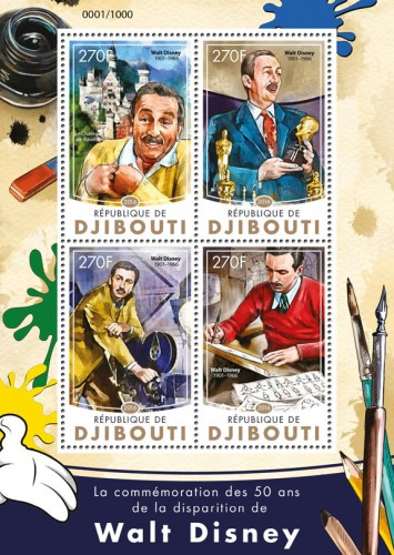 Walt Disney (Commemoration of 50 years of the death of Walt Disney (1901-1966), Neuschwanstein castle in Bavaria) | Stamps of DJIBOUTI