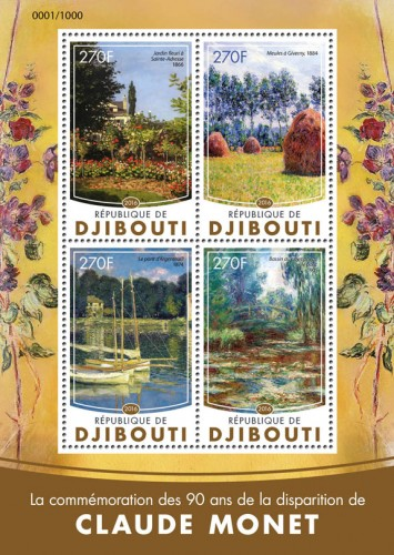 "Claude Monet (Commemoration of 90 years of the death of Claude Monet: ""Flower Garden in Sainte-Adresse"", 1866; ""Haystacks at Giverny"", 1884; ""The Argenteuil Bridge"", 1874; ""Water Lilly Pond Bridge"", 1905) 