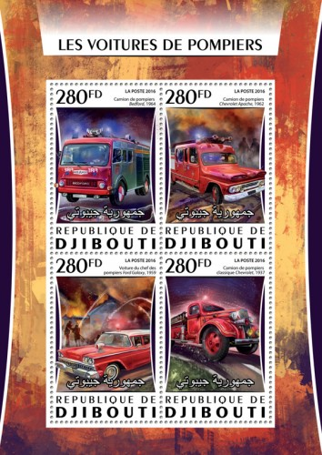 Fire engines (Fire trucks: Bedford, 1964; Chevrolet Apache, 1962; Car fire chief Ford Galaxy, 1959;  Classic fire truck Chevrolet, 1937) | Stamps of DJIBOUTI