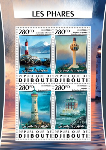Lighthouses (The Scouts Tierra del Fuego, Argentina; Jeddah Jeddah, Saudi Arabia; The lighthouse of Lindau on Lake Constance, Germany; Ledge New London Groton, Connecticut, USA) | Stamps of DJIBOUTI