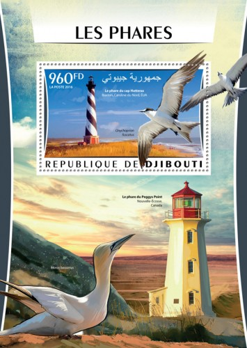 Lighthouses (The lighthouse at Cape Hatteras Buxton, North Carolina, UAE; Onychoprion fuscatus) | Stamps of DJIBOUTI