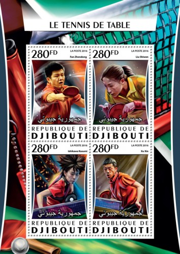 Table tennis (Fan Zhendong; Liu Shiwen; Ishikawa Kasumi;  Xu Xin) | Stamps of DJIBOUTI