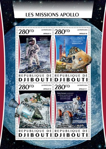 Apollo Missions (Apollo 11 - Astronaut Buzz Aldrin walking on the moon; Apollo 16 - launch from the Kennedy Space Center Saturn V SA-511, Capsule Apollo 16; Apollo 15 - Salvation to the American Flag James Irwin, Apollo 15 CSM;  Apollo 17- Gene Cernan driving a Lunar Rover during the first spacewalk) | Stamps of DJIBOUTI