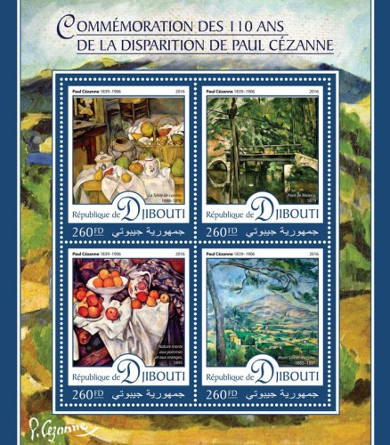 "Commemoration of 110 years of the disappearance of Paul Cézanne (Paul Cézanne (1839–1906) ""Kitchen table"", 1888–1890; ""Maincy Bridge"", 1879; ""Still Life with Apples and Oranges"", 1895; ""Mont Sainte-Victoire"", 1885–1887) 
