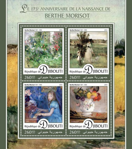 "175th anniversary of Berthe Morisot (Berthe Morisot (1841–1895) ""The gardens Bougival"", 1884; ""Hide and Seek"", 1873; ""Lucie Leon at the Piano"", 1892; ""Dahlias"", 1876) 