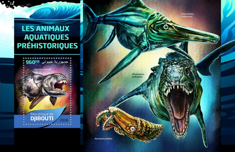 Prehistoric water animals (Dinichthys terrelli) | Stamps of DJIBOUTI