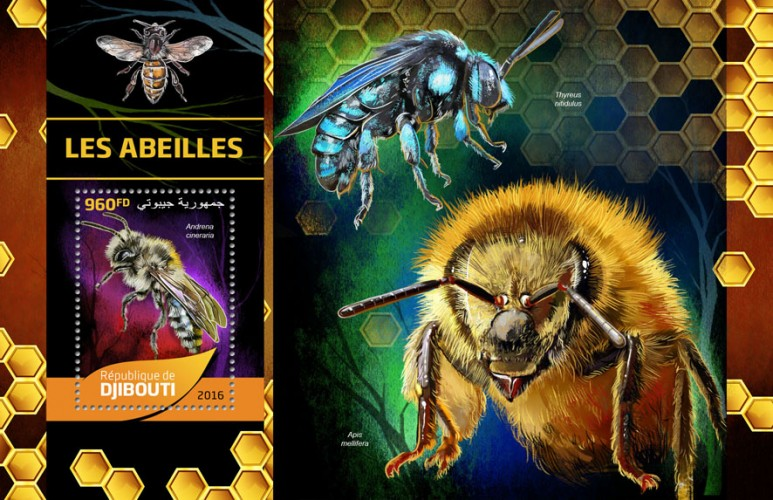 Bees (Andrena cineraria) | Stamps of DJIBOUTI