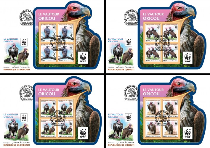 WWF: Lappet-faced vulture (Torgos tracheliotos) | Stamps of DJIBOUTI