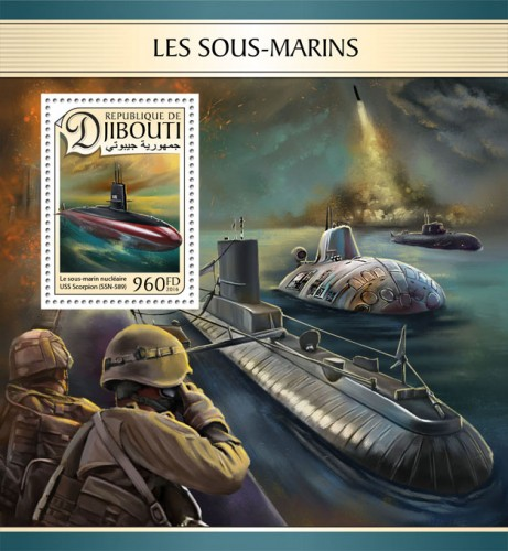 Submarines (USS Scorpion (SSN-589) | Stamps of DJIBOUTI