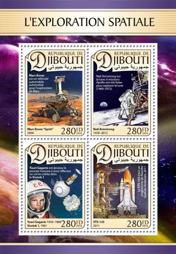 "Space exploration ( A Mars Rover is an automated motor vehicle for Mars exploration, Mars Rover ""Spirit"", 2004; Neil Armstrong (1930–2012), Neil Armstrong on the moon. 6 Apollo missions were made to explore the moon (1969-1972); Yuri Gagarin (1934–1968), Vostok 1, 1961, Yuri Gagarin became the first human to orbit Earth in Vostok 1; STS-135, 2011, STS-135 was American Space Shuttle program, 2011) 