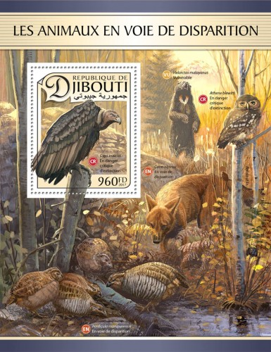Endangered animals (Gyps indicus, Critically endangered) | Stamps of DJIBOUTI