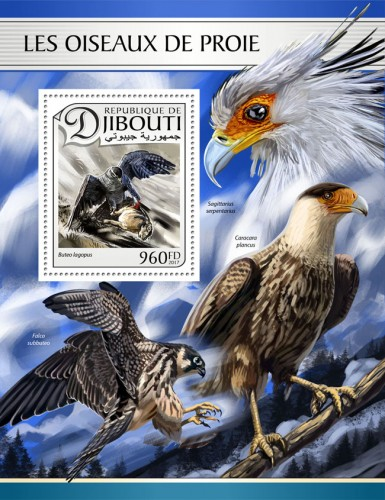 Birds of prey (Buteo lagopus) | Stamps of DJIBOUTI