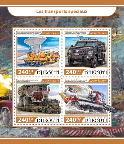 Special transport (Internationally known – the world's biggest antenna transporter; Police Special Operations Group (SOG) vehicle, Australia; Euclid Dump trucks, United States of America; Snowcat, special transport vehicle on caterpillar to motion, Russia) | Stamps of DJIBOUTI