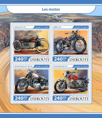Motorcycles (Henderson 4 CYL, 1912; BMW R32, 1923; BSA Rocket Gold Star A10, 1962-1963; Hercules-Wankel 2000, 1974) | Stamps of DJIBOUTI