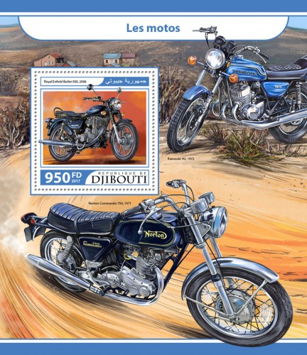 Motorcycles (Royal Enfield Bullet 500, 2006) | Stamps of DJIBOUTI