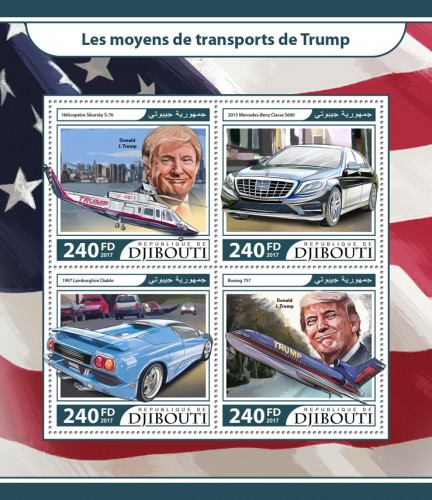 Trump's transport (Sikorsky S-76 helicopter, Donald J. Trump; 2015 Mercedes Benz S600; 1997 Lamborghini Diablo; Boeing 757) | Stamps of DJIBOUTI
