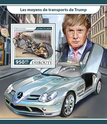Trump's transport (Motorcycle out of 24-karat gold) | Stamps of DJIBOUTI