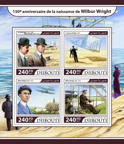 150th anniversary of Wilbur Wright (Wilbur Wright (1867–1912), Orville Wright (1871–1948)) | Stamps of DJIBOUTI