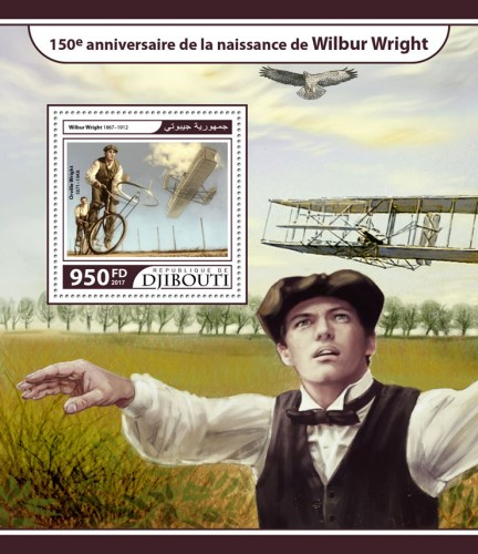 150th anniversary of Wilbur Wright (Wilbur Wright (1867–1912), Orville Wright (1871–1948); Wright Glider) | Stamps of DJIBOUTI