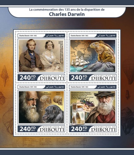 "135th memorial anniversary of Charles Darwin (George Richmond (1809–1896) ""Portraits of Charles and Emma Darwin"", 1840; HMS Beagle, Conolophus subcristatus; Charles Darwin (1809–1882), Homo neanderthalensis, Homo sapiens; Pseudoscarus lepidus, Eleginops maclovinus, Ceroglossus darwinii specimens brought back by Charles Darwin on his voyage on HMS Beagle) 
