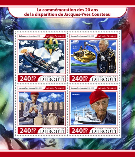 20th memorial anniversary of Jacque-Yves Cousteau (Jacques-Yves Cousteau (1910–1997)) | Stamps of DJIBOUTI