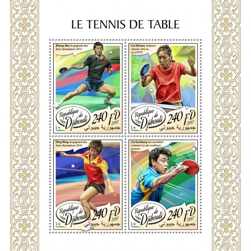 Table tennis (Zhang Jike, the winner of Olympic Games 2012; Liu Shiwen, consistently ranked #1 or #2 in ITTF; Ding Ning, the winner of Olympic Games 2016; Liu Guoliang is considered to be one of the greatest players of all time) | Stamps of DJIBOUTI