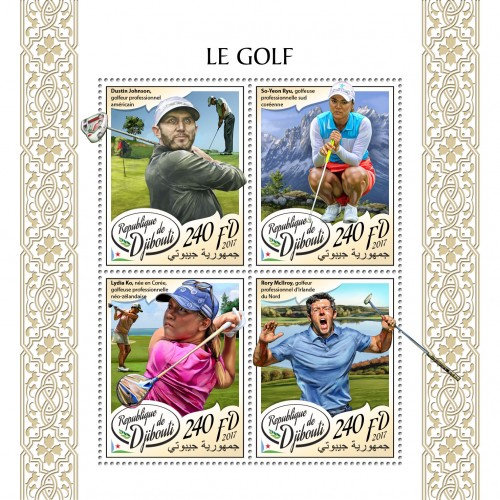 Golf (Dustin Johnson, American professional golfer player; Ryu So-yeon, South Korean professional golfer; Lydia Ko Korean-born New Zealand professional; Rory McIlroy, Northern Irish professional golfer) | Stamps of DJIBOUTI