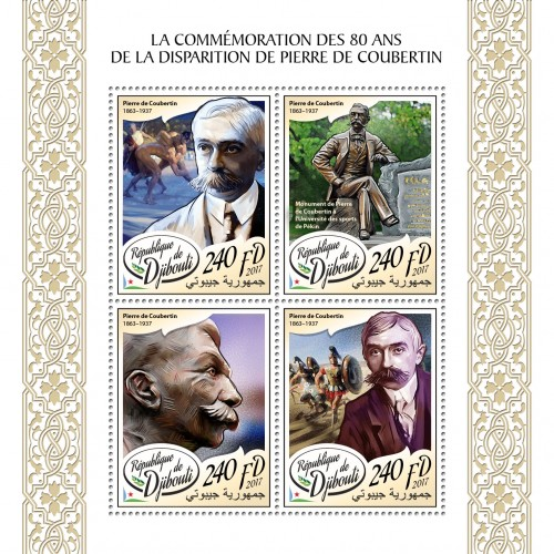 80th memorial anniversary of Pierre de Coubertin (Pierre de Coubertin (1863–1937); Monument of Pierre de Coubertin at the Beijing University of Sport) | Stamps of DJIBOUTI