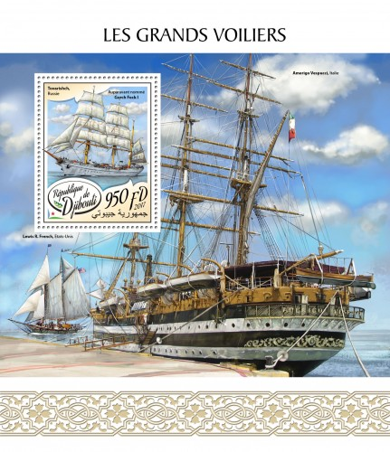 Tall ships (Tovarishch, Russia,  Previously named Gorch Fock I) | Stamps of DJIBOUTI