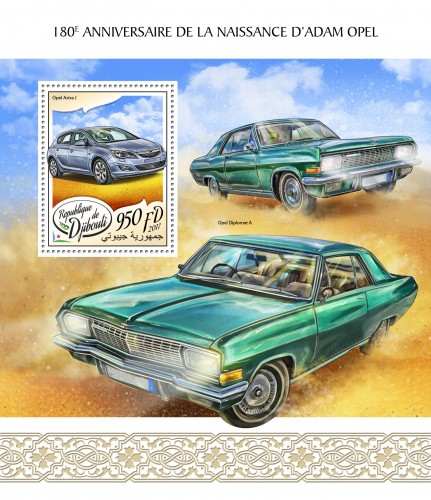 180th anniversary of Adam Opel (Opel Astra J) | Stamps of DJIBOUTI