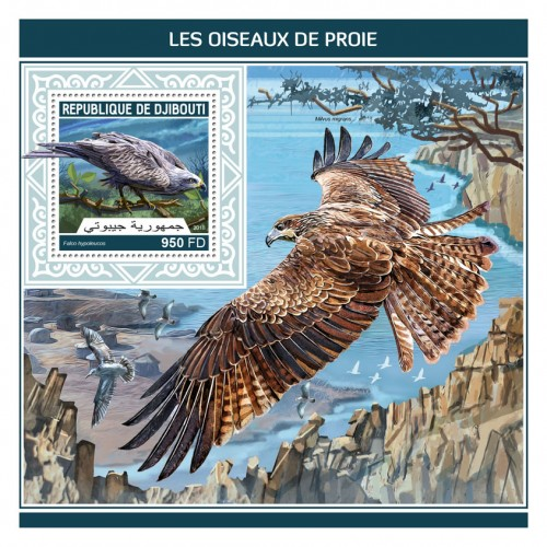 Birds of prey (Falco hypoleucos) | Stamps of DJIBOUTI