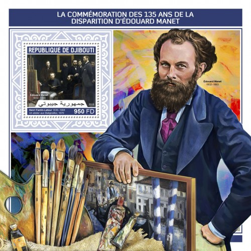 "135th memorial anniversary of Edouard Manet (Édouard Manet (1832–1883), Henri Fantin-Latour (1836–1904) ""A Studio at Les Batignolles"", 1870) 