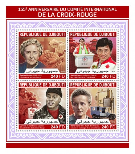 155th anniversary of International Committee of the Red Cross (Agatha Christie 1890–1976, Red Cross volunteer; Jackie Chan, the member of the Red Cross Celebrity Cabinet; LL Cool J, the member of the Red Cross Celebrity Cabinet; Marie Curie, the director of the Red Cross Radiology Service) | Stamps of DJIBOUTI