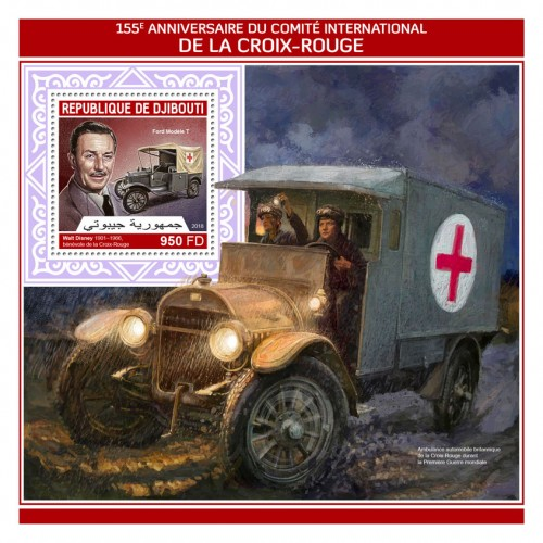 155th anniversary of International Committee of the Red Cross (Walt Disney (1901–1966), Red Cross volunteer, Ford Model T) | Stamps of DJIBOUTI