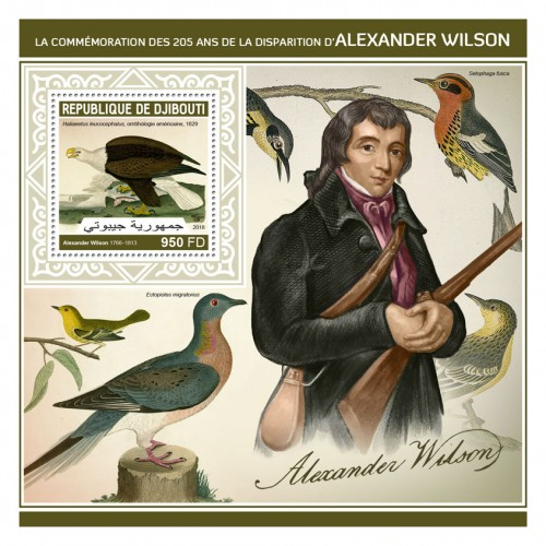205th memorial anniversary of Alexander Wilson (Alexander Wilson (1766–1813), Haliaeetus leucocephalus from American Ornithology, 1829) | Stamps of DJIBOUTI