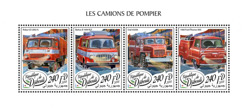 Fire engines (Robur LO 2002 A; Barkas B 1000 KLF; Ural-43206; 1960 Ford Thames 800) | Stamps of DJIBOUTI