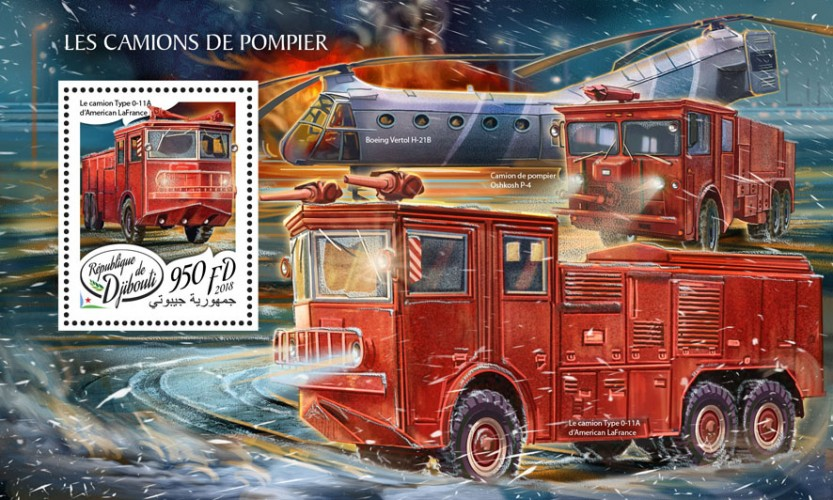 Fire engines (Type 0-11A truck of American LaFrance) | Stamps of DJIBOUTI