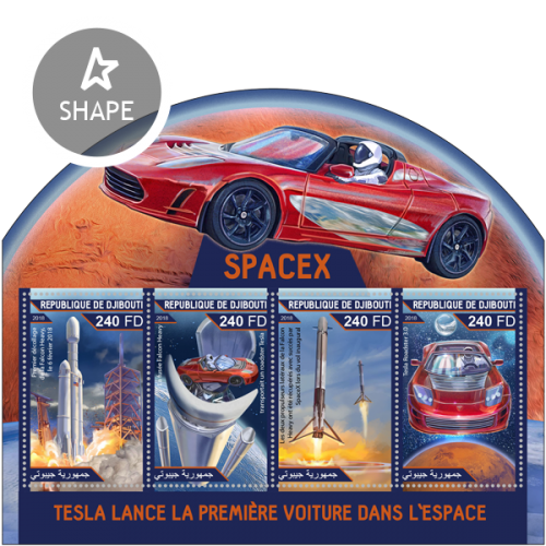 Tesla launches the first car in space (First takeoff of the Falcon Heavy, February 6, 2018; The Falcon Heavy rocket carrying a Tesla roadster; The two side thrusters of the Falcon Heavy were successfully recovered by SpaceX on the maiden flight; Tesla Roadster 3.0) | Stamps of DJIBOUTI