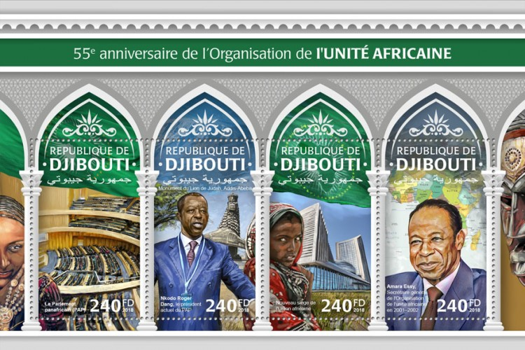 55th anniversary of Organization of African Unity (The Pan-African Parliament (PAP); Lion of Judah Monument, Addis Ababa; Nkodo Roger Dang, the current President of the PAP; New African Union headquarters and Afar tribe woman; Alpha Condé, the current Chairman of the  African Union) | Stamps of DJIBOUTI
