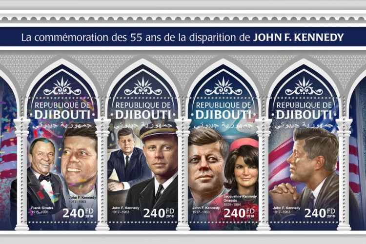 55th memorial anniversary of John F. Kennedy (Frank Sinatra (1915–1998), John F. Kennedy (1917–1963); Jacqueline Kennedy Onassis (1929–1994)) | Stamps of DJIBOUTI