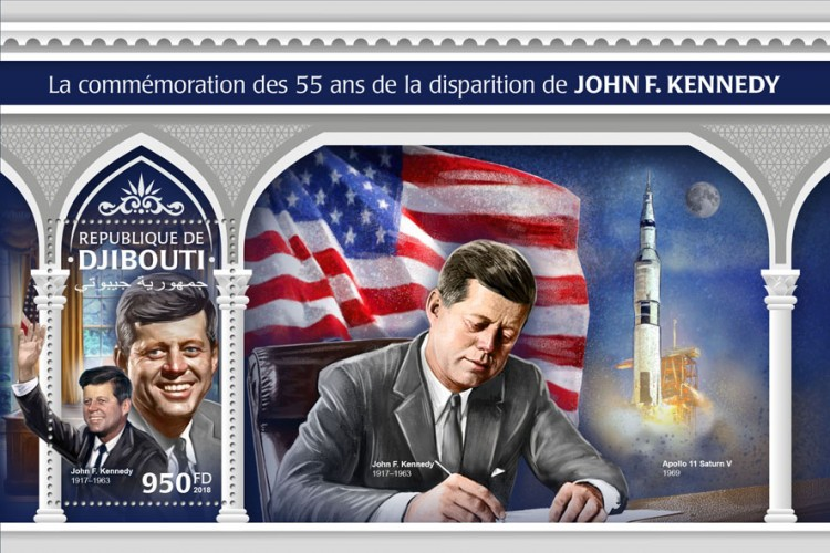 55th memorial anniversary of John F. Kennedy (John F. Kennedy (1917–1963)) Background info: Apollo 11 Saturn V, 1969 | Stamps of DJIBOUTI