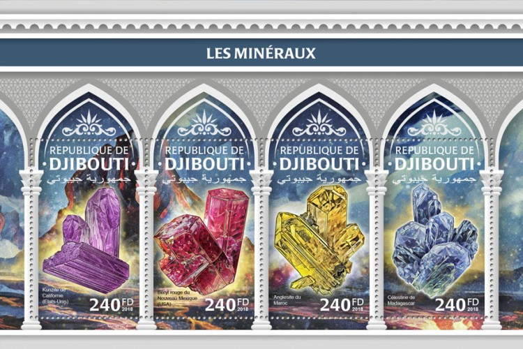 Minerals (Kunzite from California (USA); Red Beryl from New Mexico (USA); Anglesite from Morocco; Celestine from Madagascar) | Stamps of DJIBOUTI