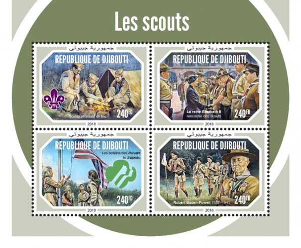 Scouts (Scout lighting fire; Queen Elizabeth II meets scouts; Girl Scouts Raising the Flag; Robert Baden-Powell (1857–1941)) | Stamps of DJIBOUTI