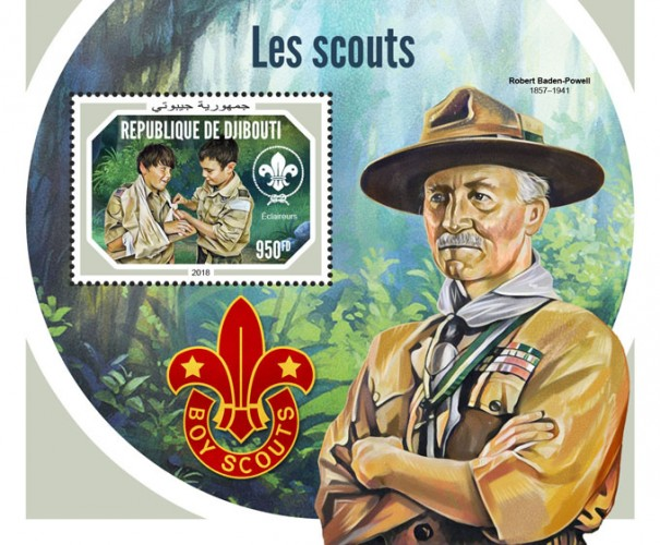 Scouts (Boy scouts) Background info: Robert Baden-Powell (1857–1941) | Stamps of DJIBOUTI