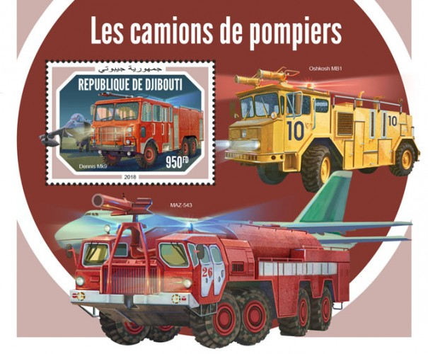 Fire engines (Dennis Mk9) Background info: Oshkosh MB1, MAZ-543 | Stamps of DJIBOUTI