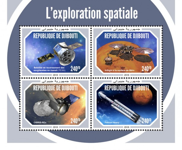Space exploration (Transiting Exoplanet Survey Satellite (TESS); InSight on the surface of Mars; OSIRIS-Rex; Falcon Heavy) | Stamps of DJIBOUTI